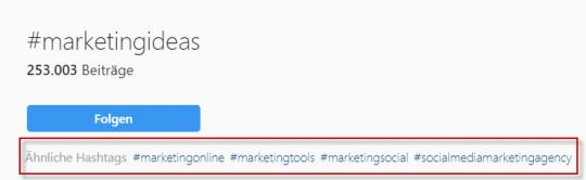 Ähnliche Hashtags für die Recherche bei Instagram