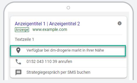 Mobile Affiliate Standorterweiterung von Google Ads