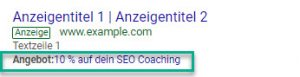 Angebotserweiterung Google
