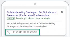 Mobile Anruferweiterung bei Google Ads