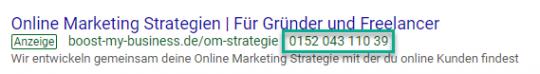 Anruferweiterung bei Google Ads