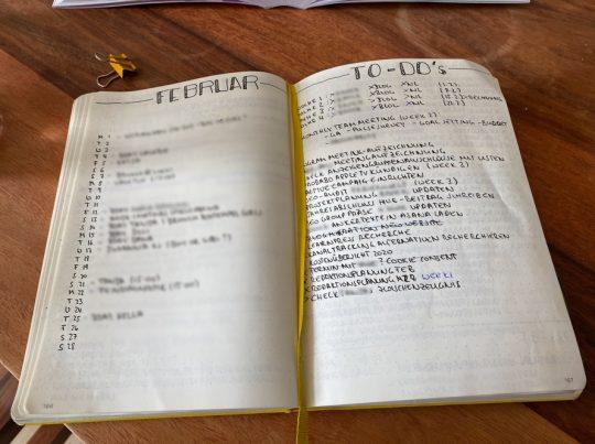 Beispiel für Monats-To-Dos im Bullet-Journal