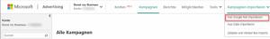 Import von Google Kamapgnen in Bing
