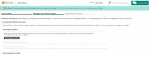 Google Kampagnen in Bing kopieren bei einem neuen Konto