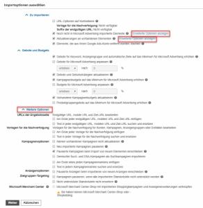 Importoptionen Google Ads nach Bing