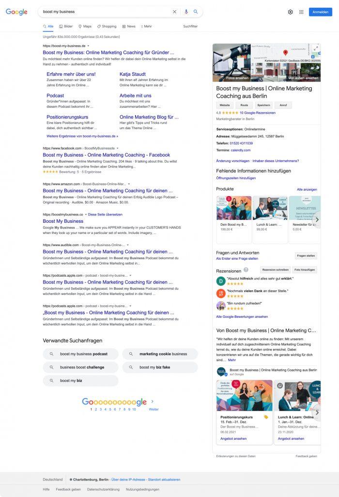 Boost My Business Suchergebnis Google
