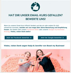 Call to Action im Boost my Business Email-Kurs