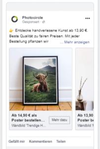 Karussel Ad bei Facebook