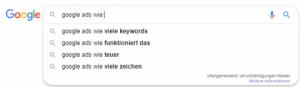 Content-Recherche mit Google Suggest