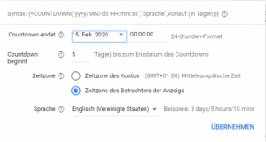 Countdown Funktion bei Google Ads