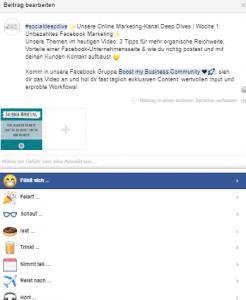 Emojis in Facebook Beiträgen