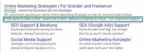 Erweiterungen mit Zusatzinformationen Google