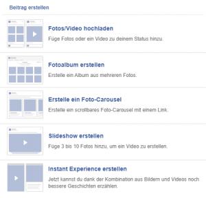 Übersicht Beitragsarten Facebook