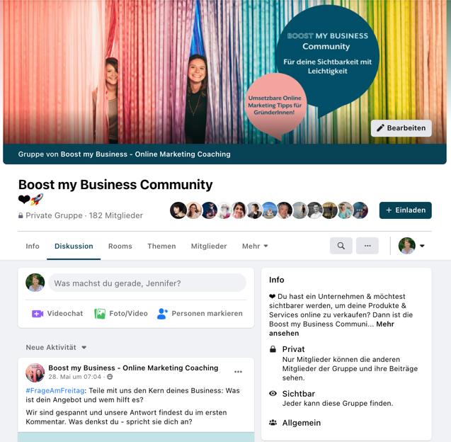 Facebook Gruppe von Boost my Business