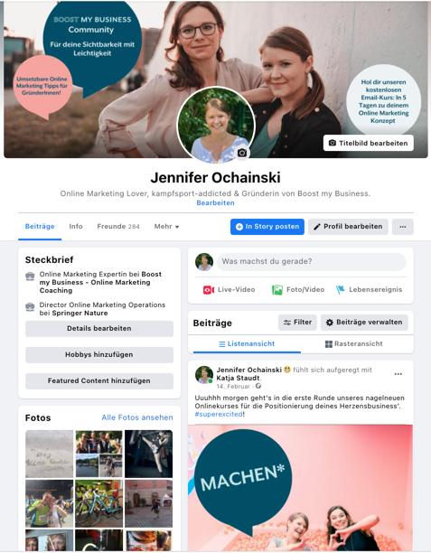 Facebook Privatprofil mit Unternehmensinformationen