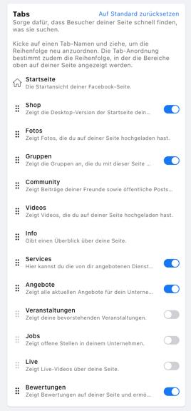 Facebook Tabs aktivieren