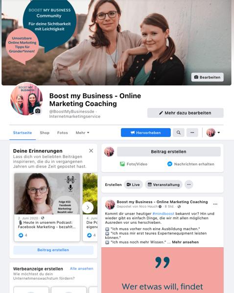 Facebook Unternehmensprofil Boost my Business