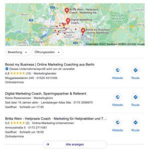 Google my Business Einträge Online Marketing Coaching