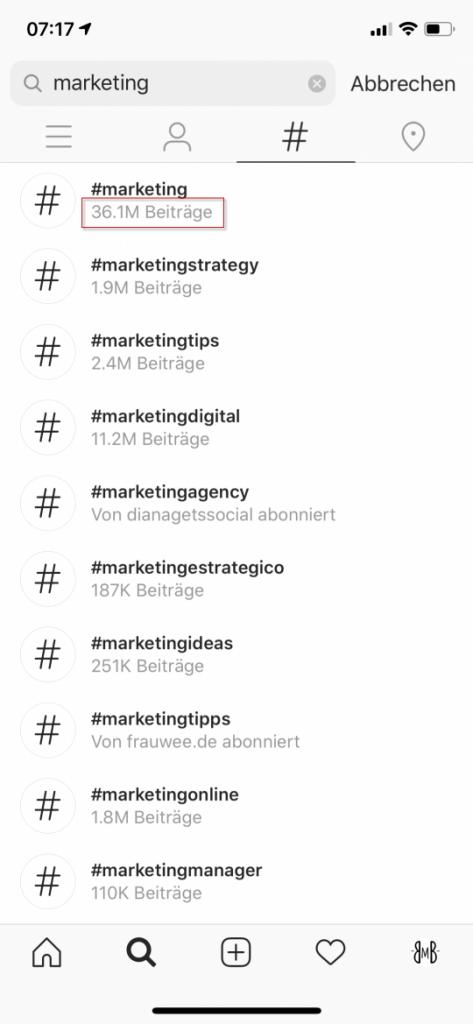 Hashtags Beitragsvolumen