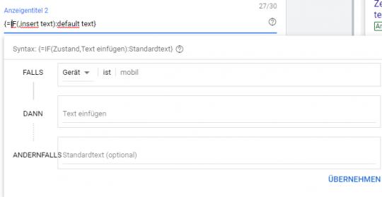 If-Funktion von Google Ads für Anzeigentexte
