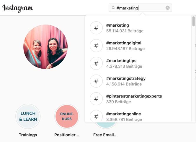 Instagram Hashtag-Suche