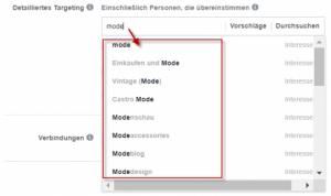 Interessentargeting Facebook - selbst suchen