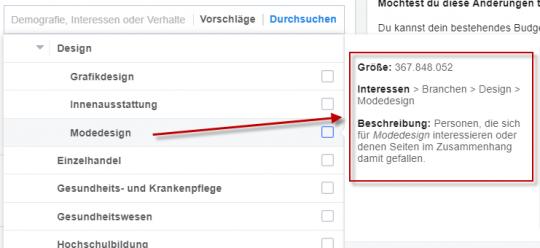 Interessentargeting Facebook - Geschätzte Zielgruppengröße
