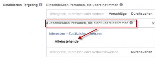 Interessentargeting Facebook - Ausschluss von Interessen