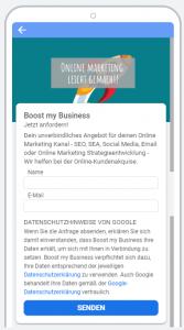 Lead Formularerweiterung Google Formular Boost my Business