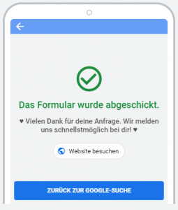 Lead Formularerweiterung Google Anzeige - Versendet