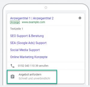Lead Formularerweiterung Google Anzeige