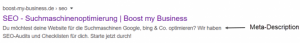 Meta-Description SEO in den Google Suchergebnissen