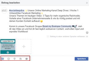 Zusatzoptionen für deine Facebook-Beiträge