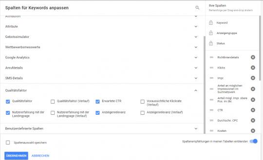 Qualitätsfaktor als Spalte auswählen in Google Ads