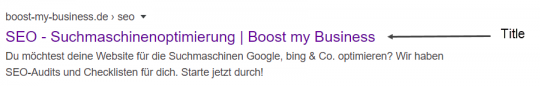 Seitentitel SEO in den Google Suchergebnissen
