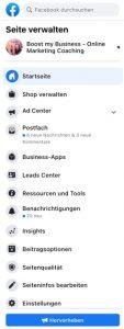 Seitenverwaltung bei Facebook