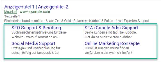Sitelinks bei Google