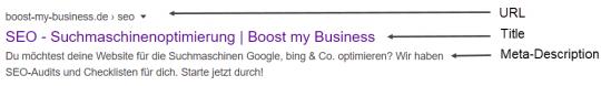 Suchergebnis Google von Boost my Business