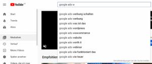 Keywordvorschläge in der YouTube Suche